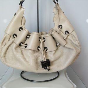 Burberry Leather Drawstring Hobo Handbag